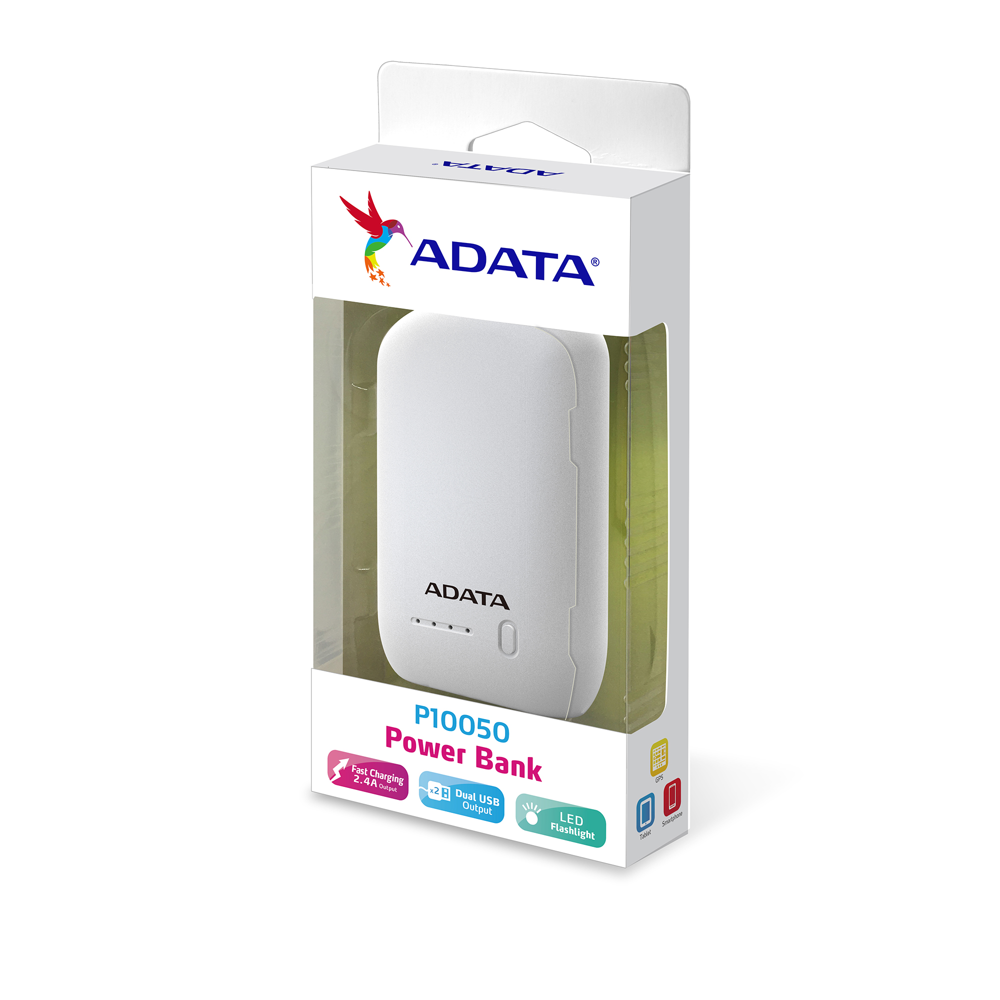 Cargador Portatil 10.000 Mah Adata Power Bank 2.1A con linterna