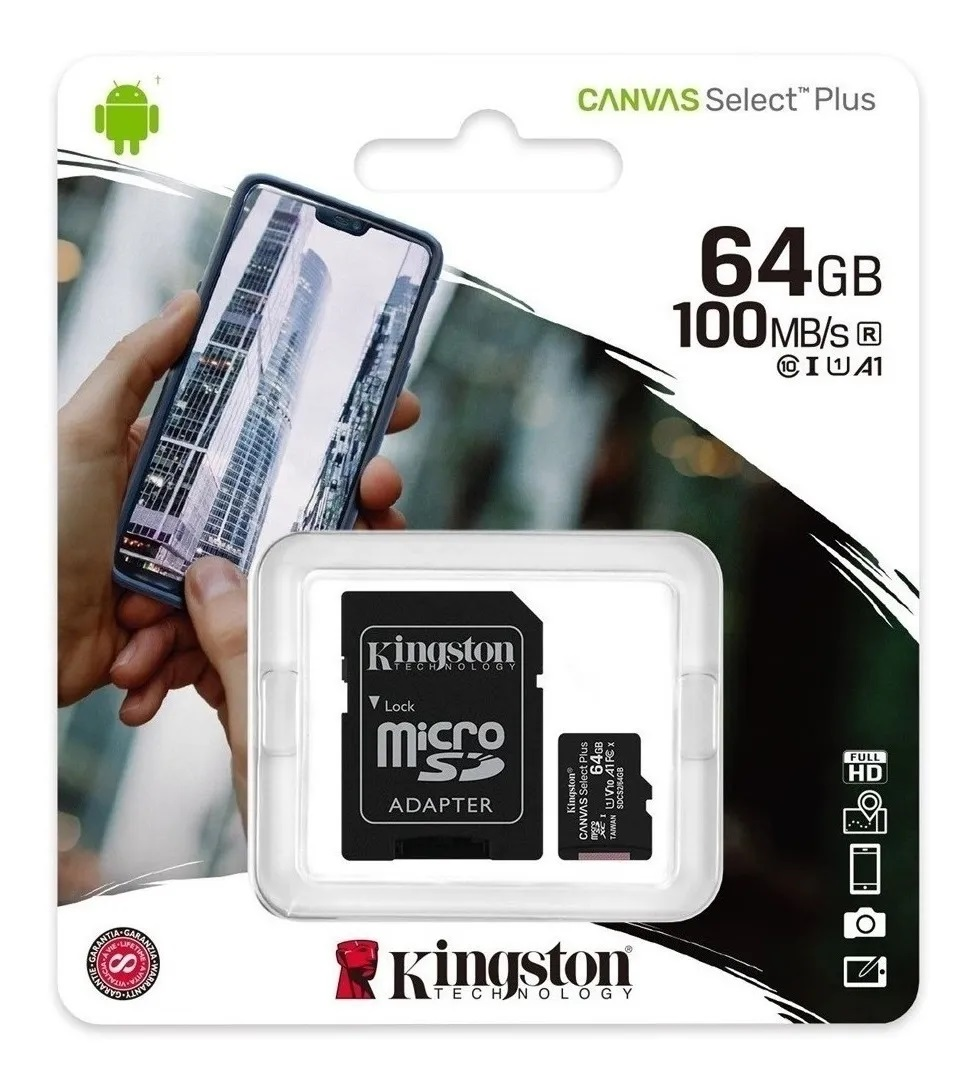 Micro SD 64 GB 2 en 1 Canvas Select Plus