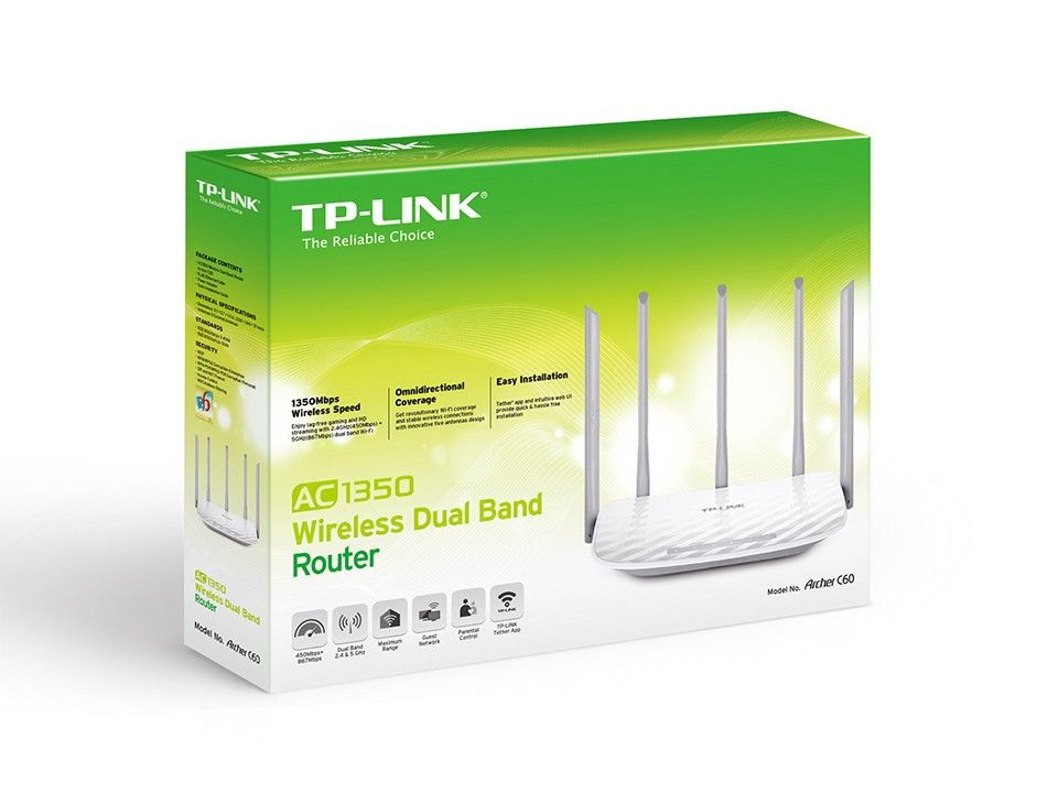 Router Wi Fi TP-Link 1350 MB Archer C60 Dual Band AC